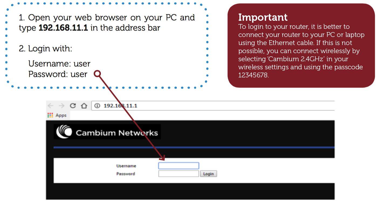 Cambium router login